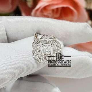 Silver Camelia Rose Flower Diamond Like Crystals 925 Silver Ring