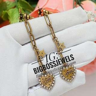 Vintage Style Aged Gold Bee Heart Diamond Like Crystals Long Dangling Earrings Ear Studs