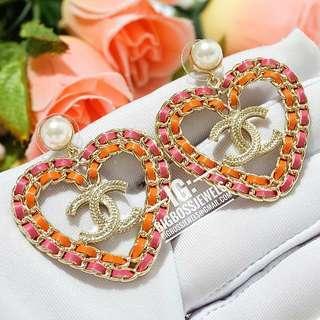 Gold Red Orange Heart Dangling Earrings Ear Studs Large