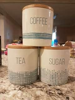 New! Tea, Sugar and Coffee container set