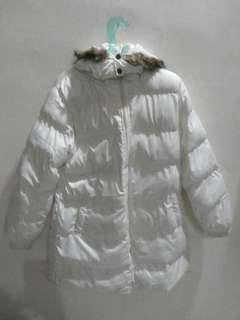 CNY2019 Winter White Jacket Hoodie Polyester
