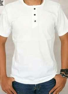 Kaos Polos Kancing Premium Putih Bandung