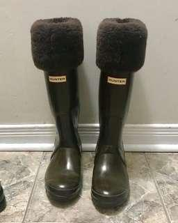 Hunter rain boots fur lining size 7