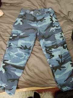 Blue Camo Cargo Pants