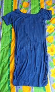 🚚 Blue deep V back mini dress / long top (Osmose S)
