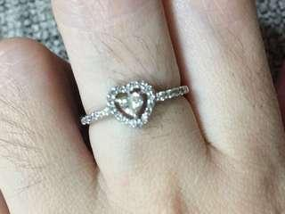 14 karat white gold Diamond heart ring