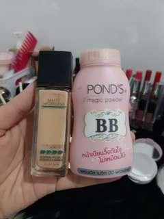 Maybelline Fit Me Foundation + Ponds BB powder