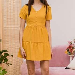 🚚 TSW Tarquin Double Tiered Hem Dress in Mustard