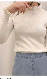 木耳邊半高領針織衫女秋長袖打底衫修身韓内搭白色打底毛衣