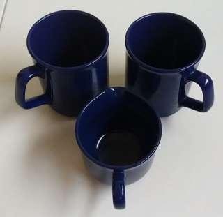 #blessing. 3 navy blue porcelain cups. 2 for drinking, 1 for sugar/milk. Made in england. Used previously only for display. Exchange for 2 boxes of tissues will do. Thanks.