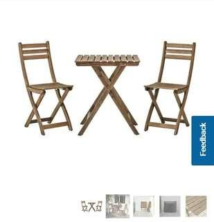 Looking For This IKEA Askholmen Wood Wooden Outdoor Foldable Table & Chairs