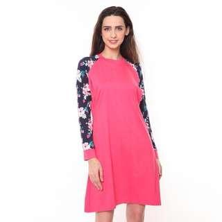 Baju menyusui pink fanta Giselle Rose Floral