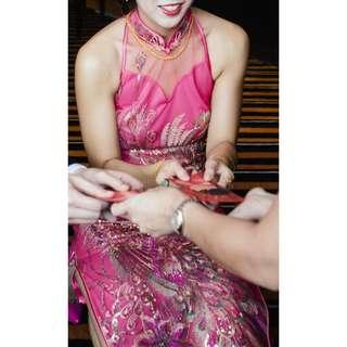 🚚 Full Length Pink Cheongsam Qipao Gown
