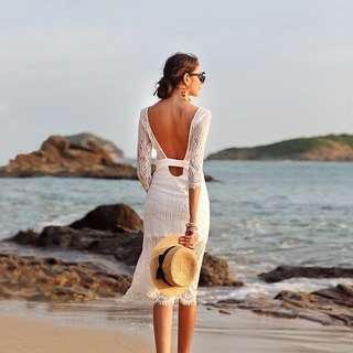🚚 White Low back dress