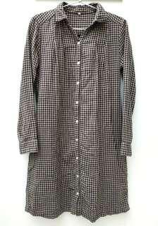 Muji 無印良品啡黑格仔連身裙,全棉 Brown and black checkers one-piece/ dress, 100% cotton