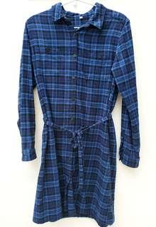 Muji 無印良品藍黑格仔連身裙,全棉 Black and blue checkers one-piece/ dress, 100% cotton