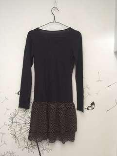 black dress polkadot