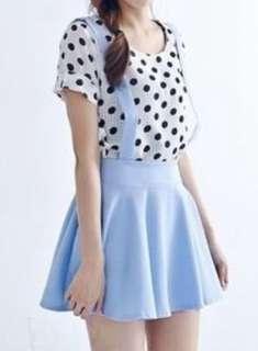 Pastel baby blue suspender skater skirt high quality