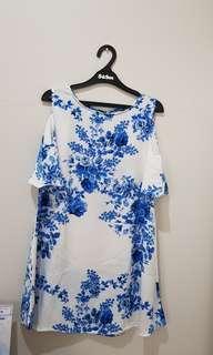 Floral Blue White Dress