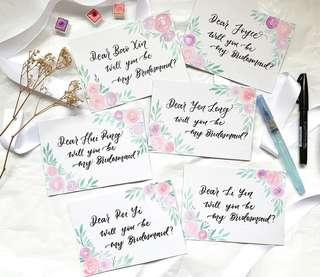 🚚 Bridesmaid calligraphy cards