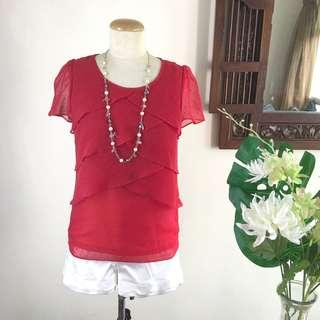 🚚 Top (SALE) - Red Asymmetrical Tiered Top