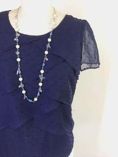 🚚 Top (SALE) - Dark Blue Asymmetrical Tiered Top