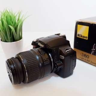 Kamera DSLR Nikon D60 Fullset Mulus bukan mirrorless canon fujifilm sony
