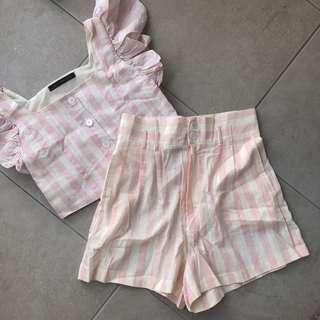 🍑 Pink Striped Linen Coords