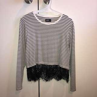 Striped/lace top