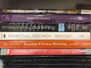 🚚 Consumer Behaviour, Services Marketing, international marketing, marketing research, global economics, international human resource management textbooks