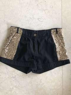 Sass and Bide Black Shorts with Gold Sequence Size 8