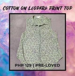 Cotton On Green Leopard Print Sleeveless Top