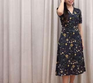 Long Floral Dress with Sleeve