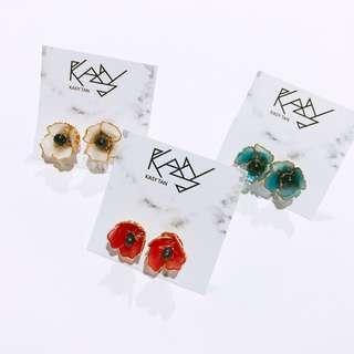 Poppy flower earring