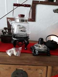 Teapot Glass with stove and burner
