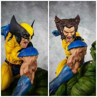 Sideshow Hulk vs Wolverine Maquette (with custom heads)