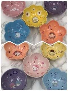 全新 7-11 sanrio 花雨 花語 陶瓷碗 1套10隻
