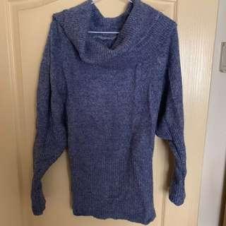 🚚 仙女藍一字領毛衣
