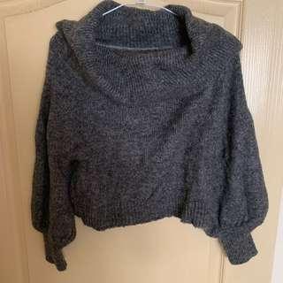🚚 全新-灰色一字領毛衣