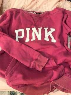 "Hot pink ""PINK"" crew neck"