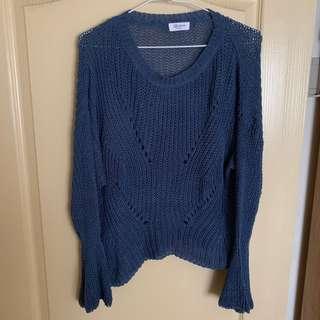 🚚 全新-藍色針織上衣
