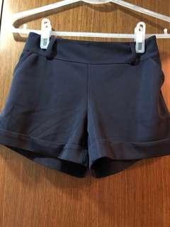 深藍彈性鬆緊短褲