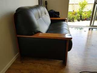 3 Piece Leather and Coconut wood lounge suite
