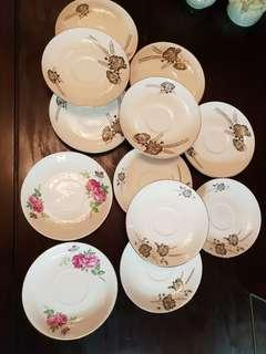 double rose and bunga padi saucer 12 pcs