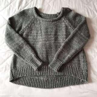 🚚 灰色針織前短後長上衣