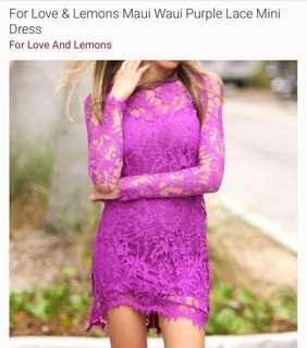 For love and lemons purple Maui waui lace dress