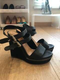 Chloe Black Leather Platform Heels