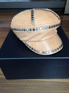 🚚 Prada Leather Hat with Metal Studs