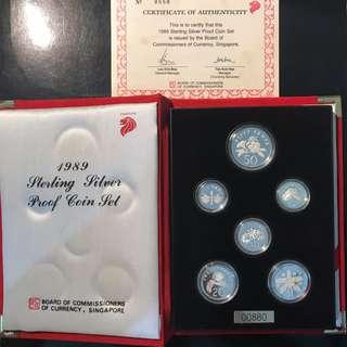 0880 Radar Lucky Cert Number. 1989 Sterling Silver Proof Coin Set 1 Cent to $1 With Cert UNC Coins In Perfect Condition With Lucky Cert Number 880.
