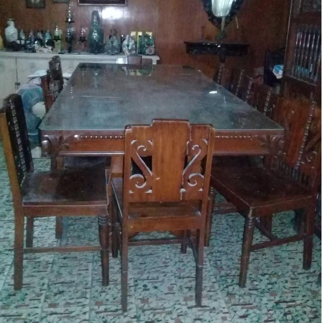 12 Seats Antique Narra Dining Table, Antique Dining Room Furniture 1950
